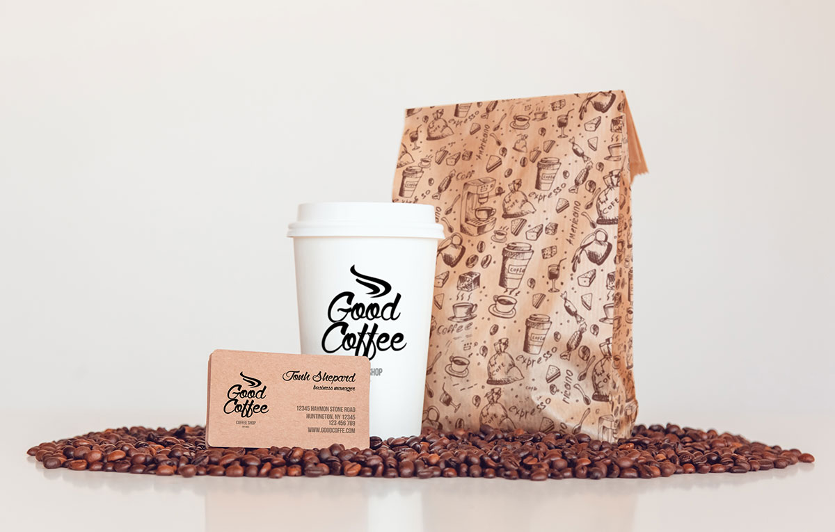 ماکاپ هویت بصری Goodcoffee