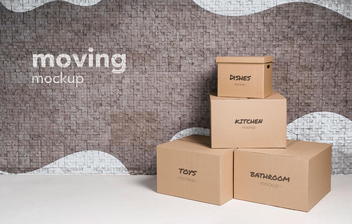 ماکاپ بسته بندی | جعبه Moving